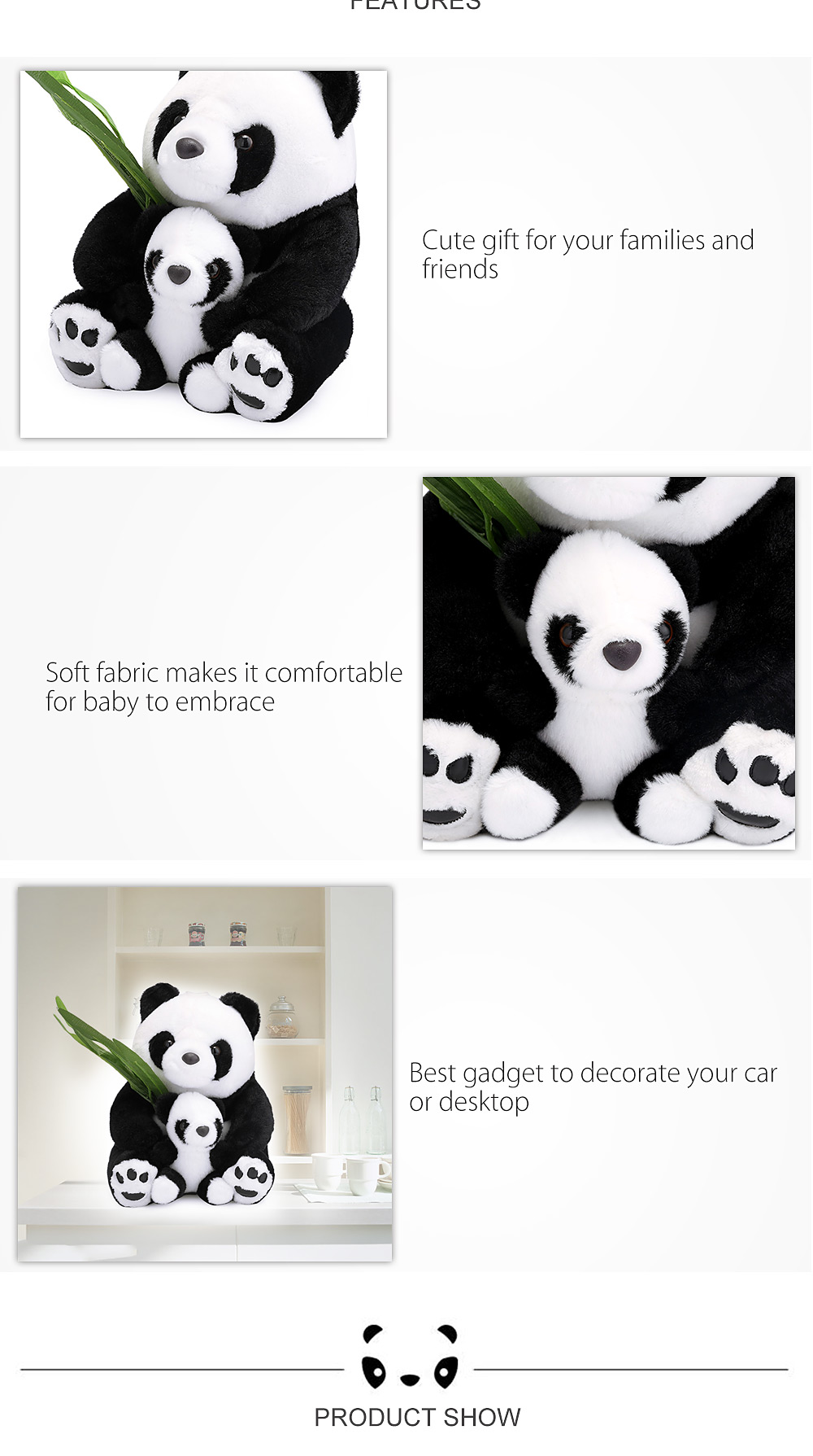 25cm Baby Stuffed Cute Mother-child Panda Plush Doll Toy Birthday Christmas Gift