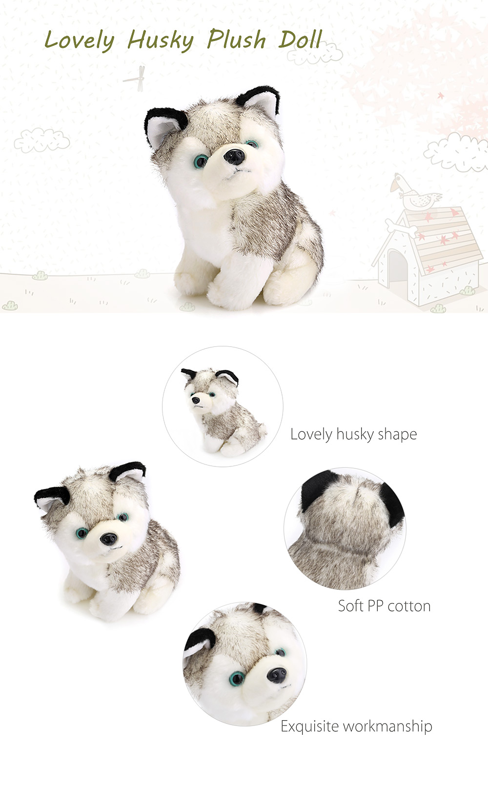 250mm Baby Stuffed Cute Husky Plush Doll Toy Birthday Christmas Gift