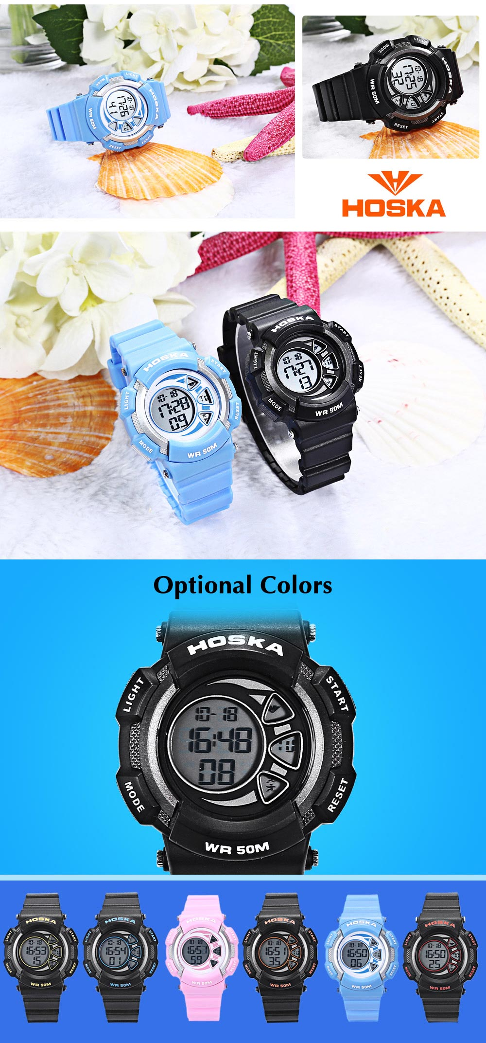 HOSKA H020S Children LED Digital Watch 5ATM Calendar Wristwatch