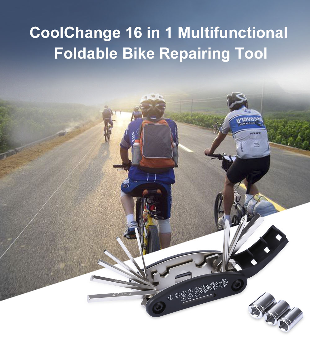 CoolChange 16 in 1 Multifunctional Foldable Bike Repairing Tool Wrench Screwdriver