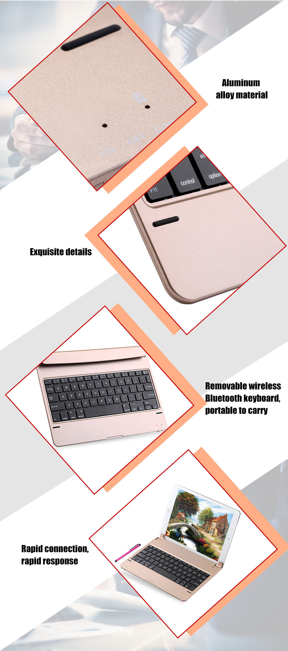 Ultra Thin Removable Wireless Bluetooth Keyboard for iPad Pro 9.7 inch