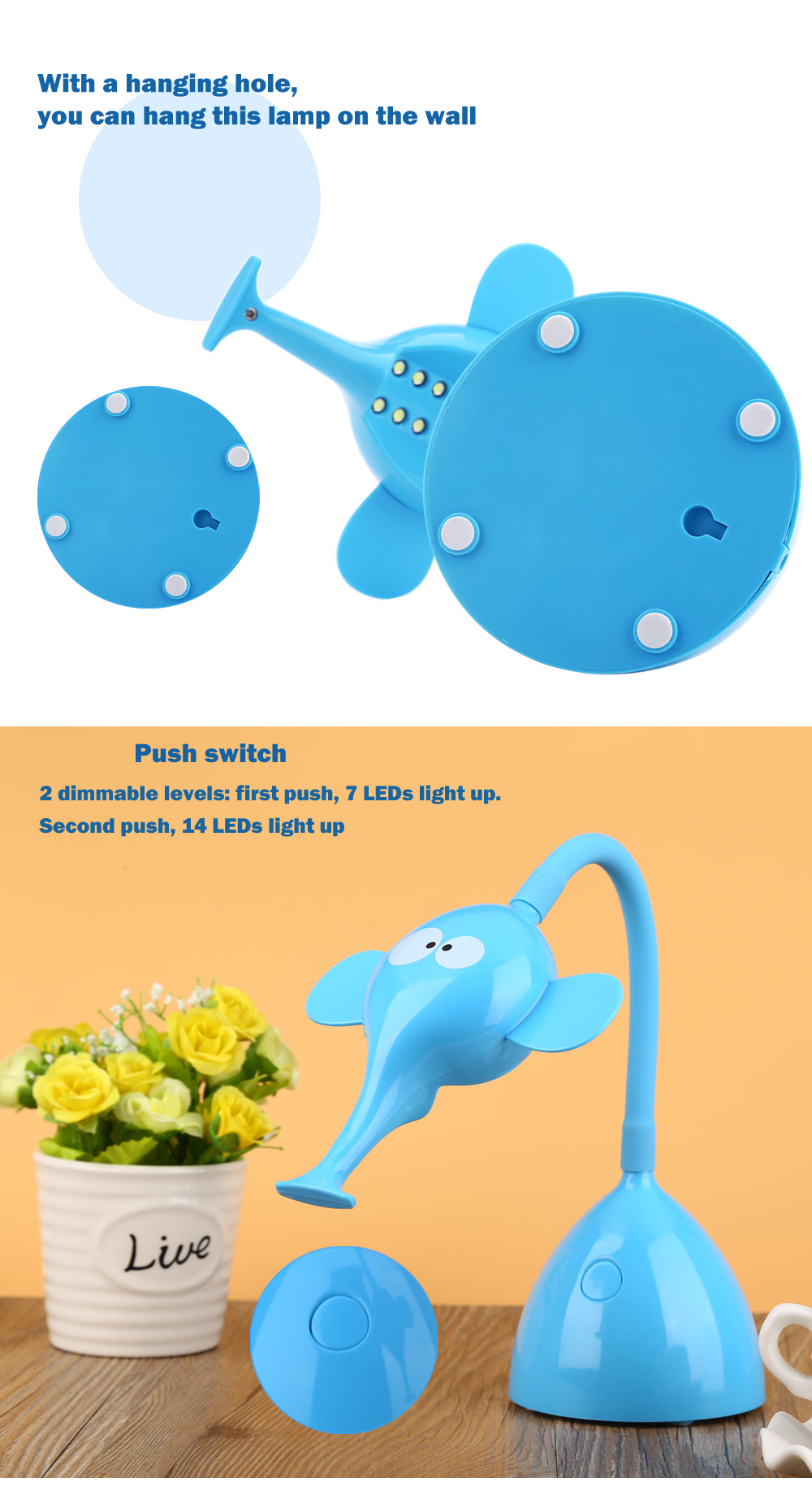 DC 5V 6W Cartoon Snail Eye Protection LED Table Lamp USB Rechargeable Night Light