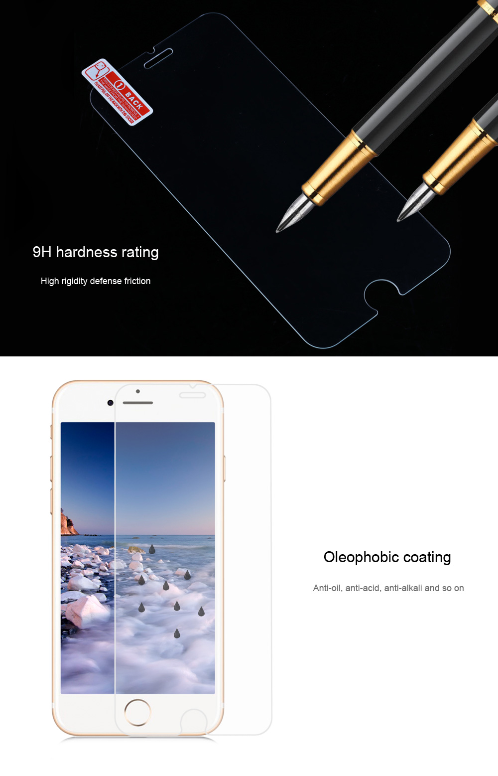 2 in 1 3D Tempered Glass Screen Protective Film for iPhone 7 Plus 5.5 inch