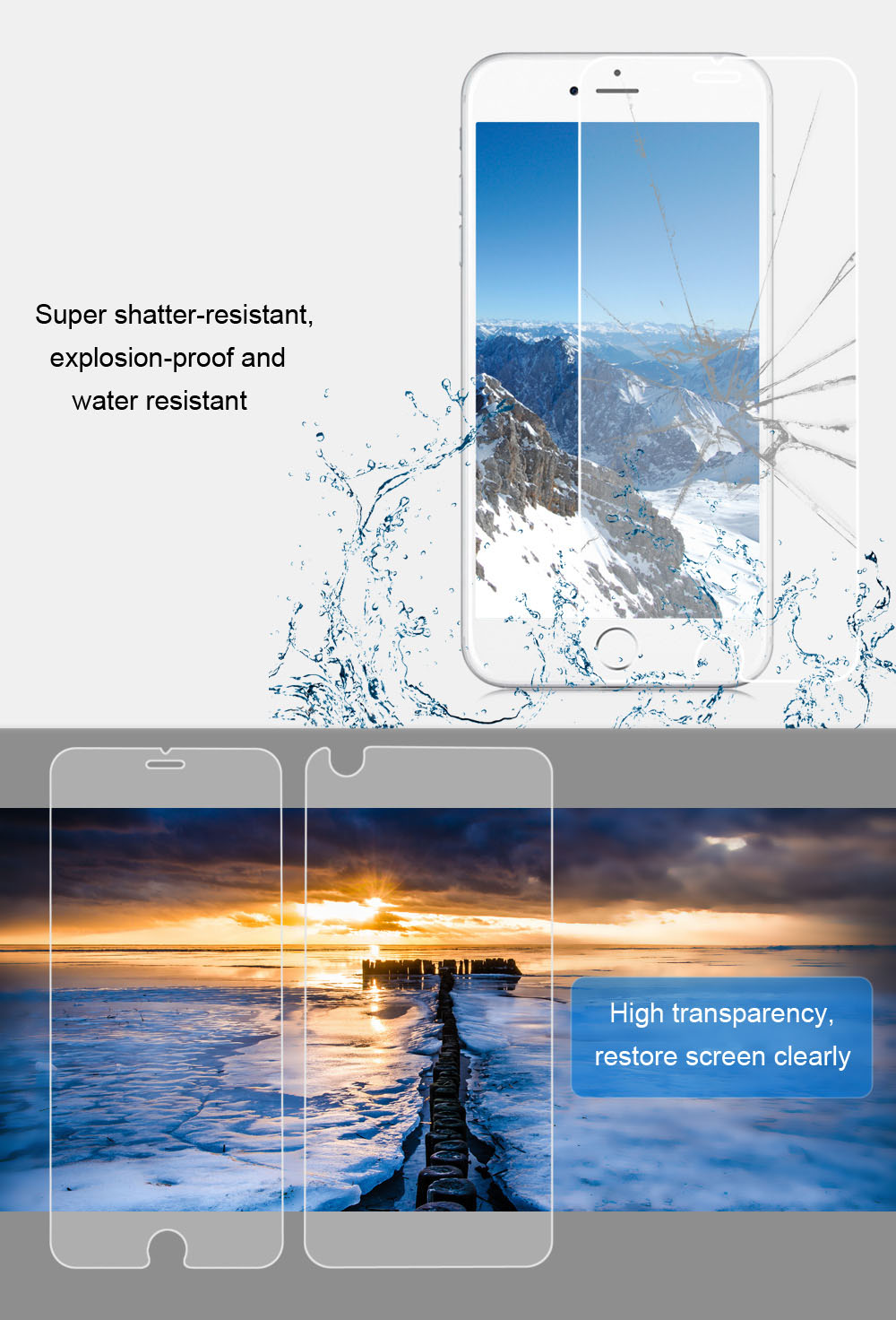 2 in 1 3D Tempered Glass Screen Protective Film for iPhone 6 / 6S