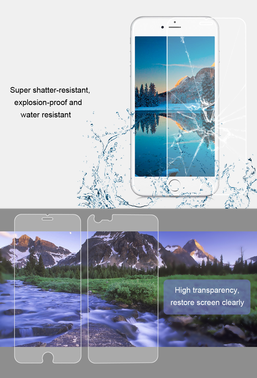 2 in 1 3D Tempered Glass Screen Protective Film for iPhone 6 Plus / 6S Plus