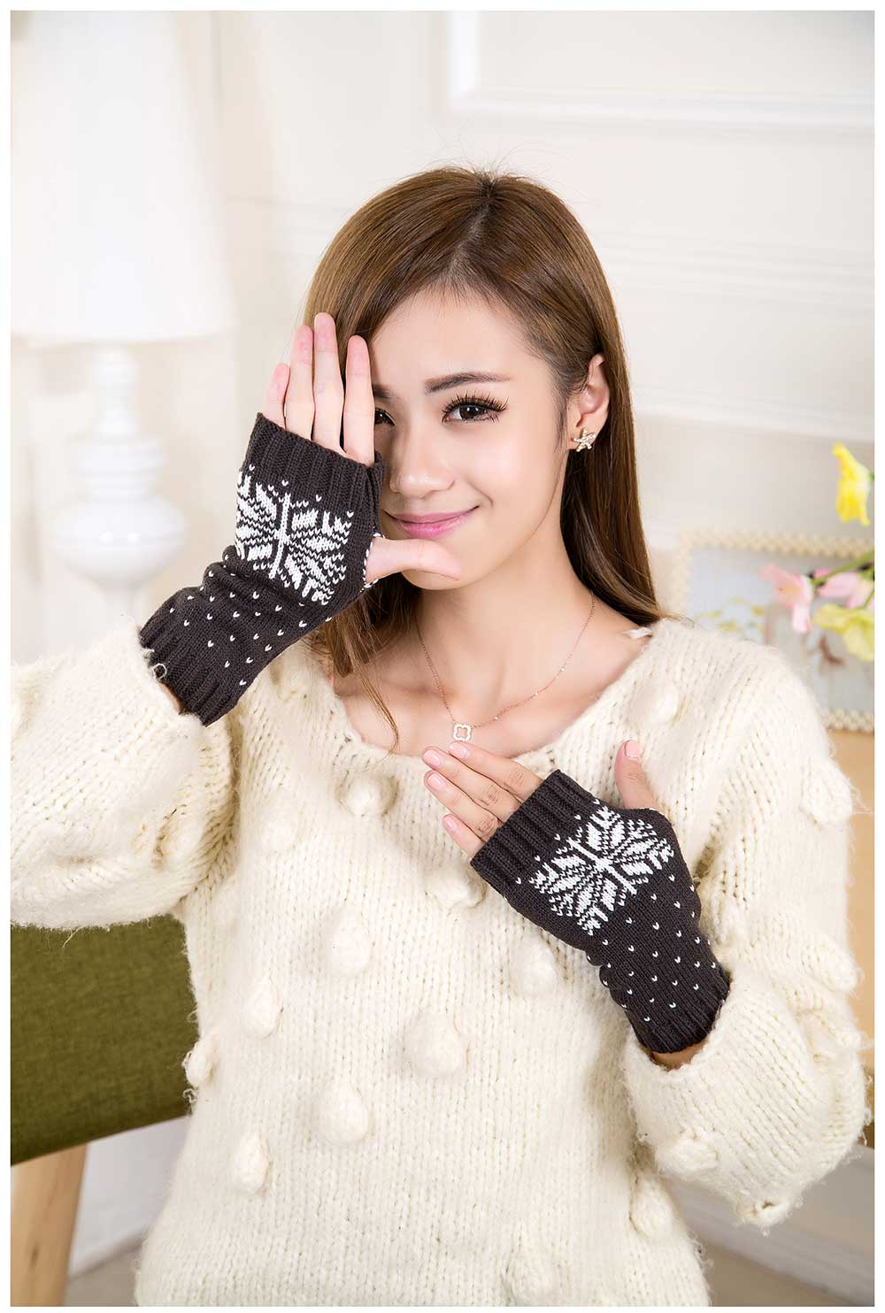 Casual Color Block Snow Pattern Warm Open Finger Christmas Gloves for Women
