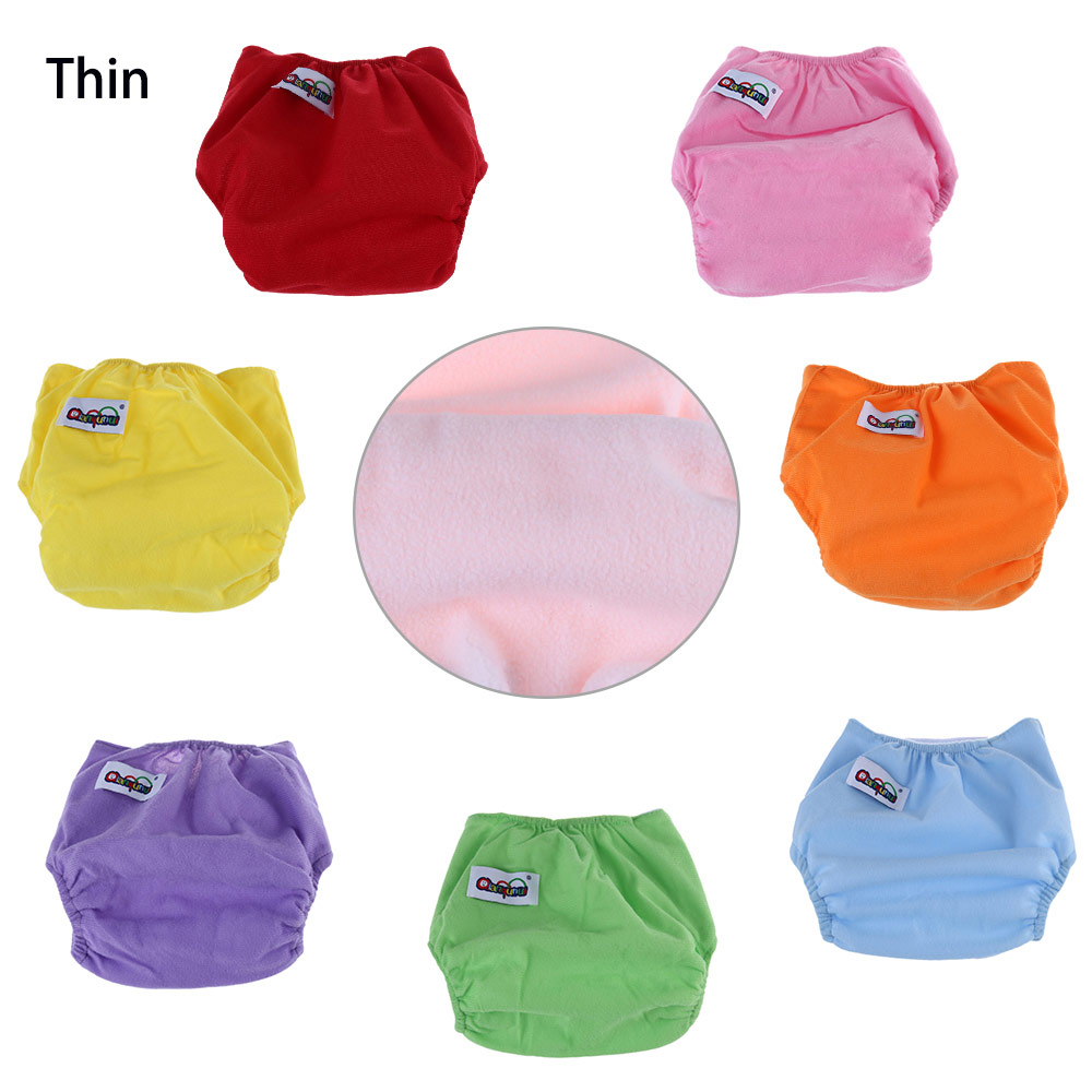 Qianquhui Breathable Washable Solid Color Magic Tape Cloth Diaper