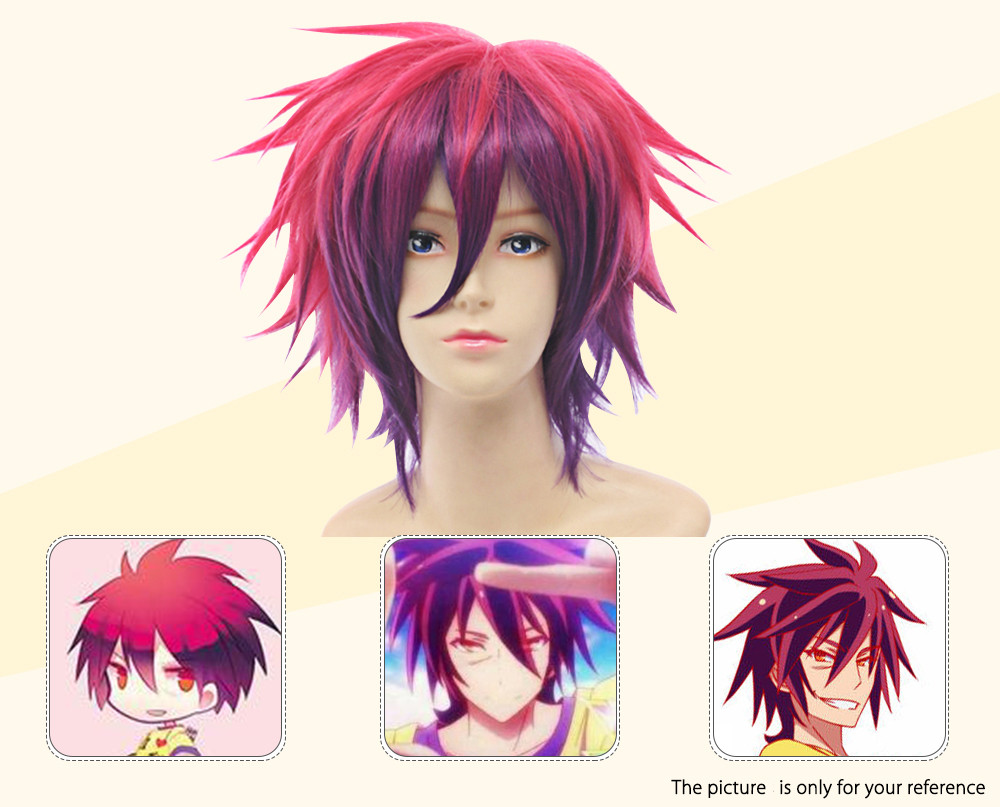 Toupee Short Straight Mixed Colors Red Purple Wigs Cosplay for No Game No Life Sora Figure