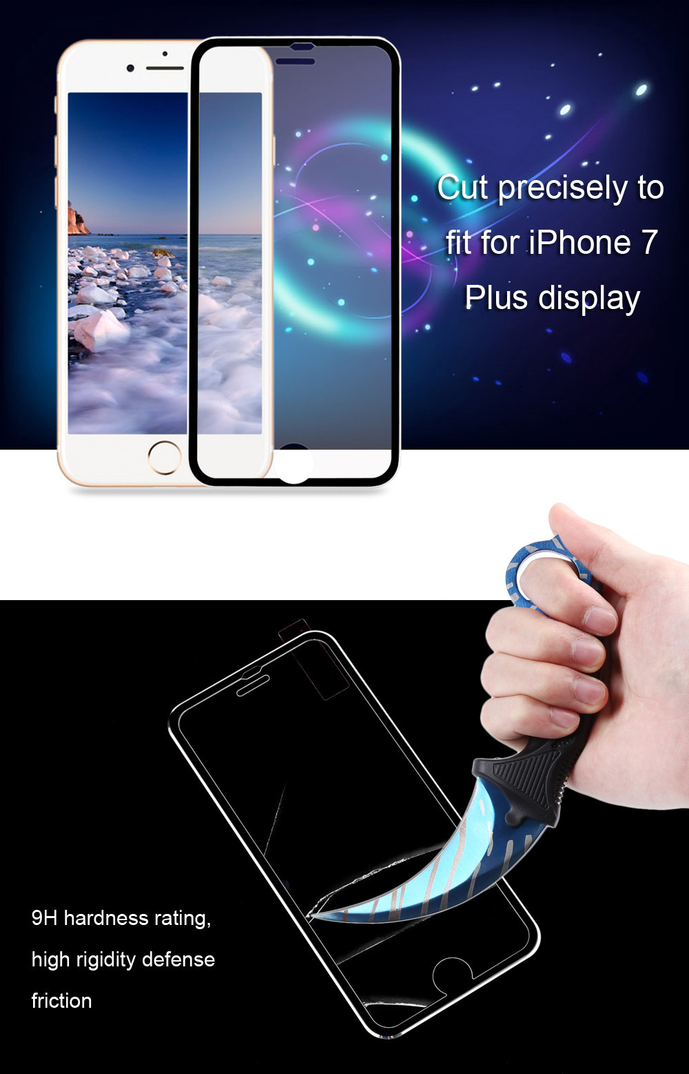 3D Tempered Glass Curved Metal Edge Screen Protective Film for iPhone 7 Plus 5.5 inch