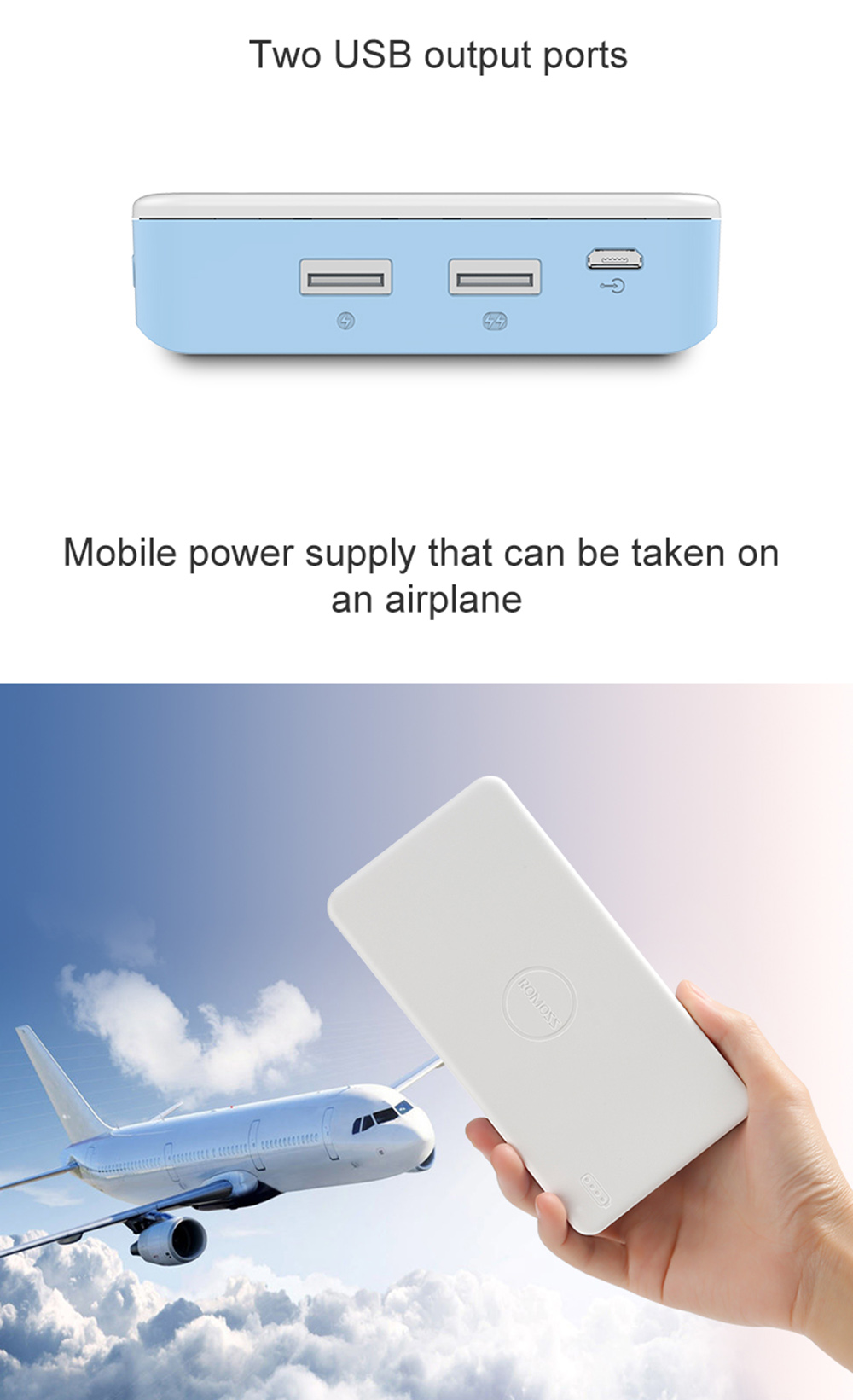 ROMOSS PB20XC Quick Charge 2.0 20000mAh Portable Universal External Battery