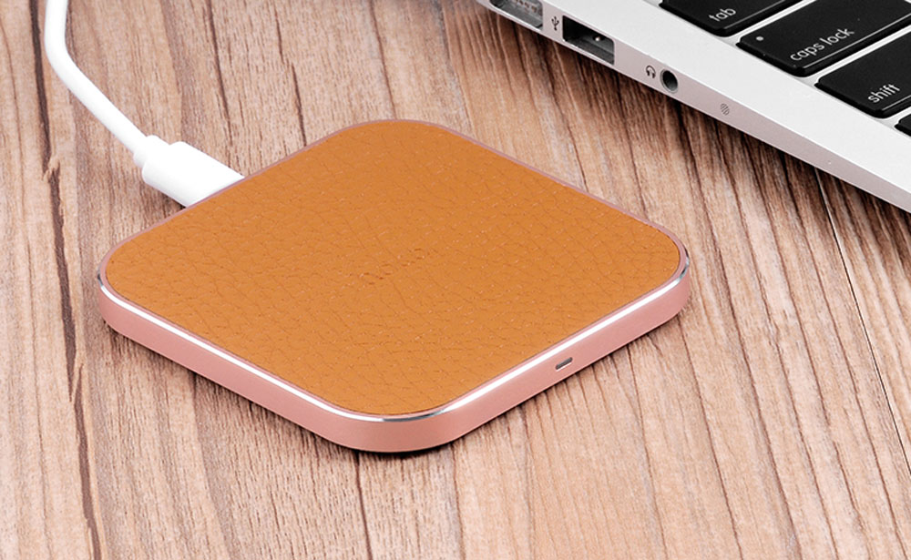 HOCO CW2 PU Leather Aluminum Alloy Frame Wireless Charging Station