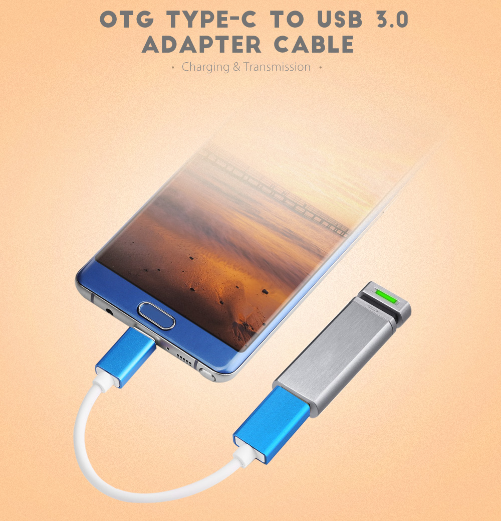 Type-C to USB 3.0 OTG Aluminum Alloy Adapter Cable 16.5cm