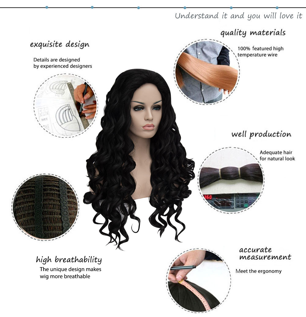 Women Sexy Long Curly Wavy Natural Full Wigs Heat-resistant Cosplay Hair