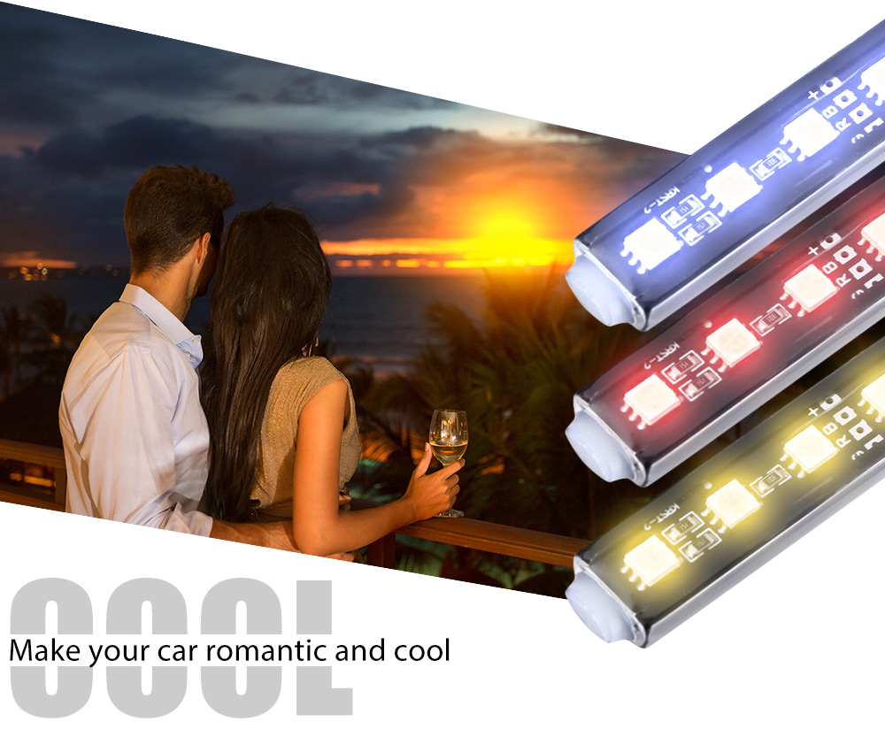 Universal Automobile Multicolored Interior Decorative 6000K Lamp Remote Control with Four Light Strip