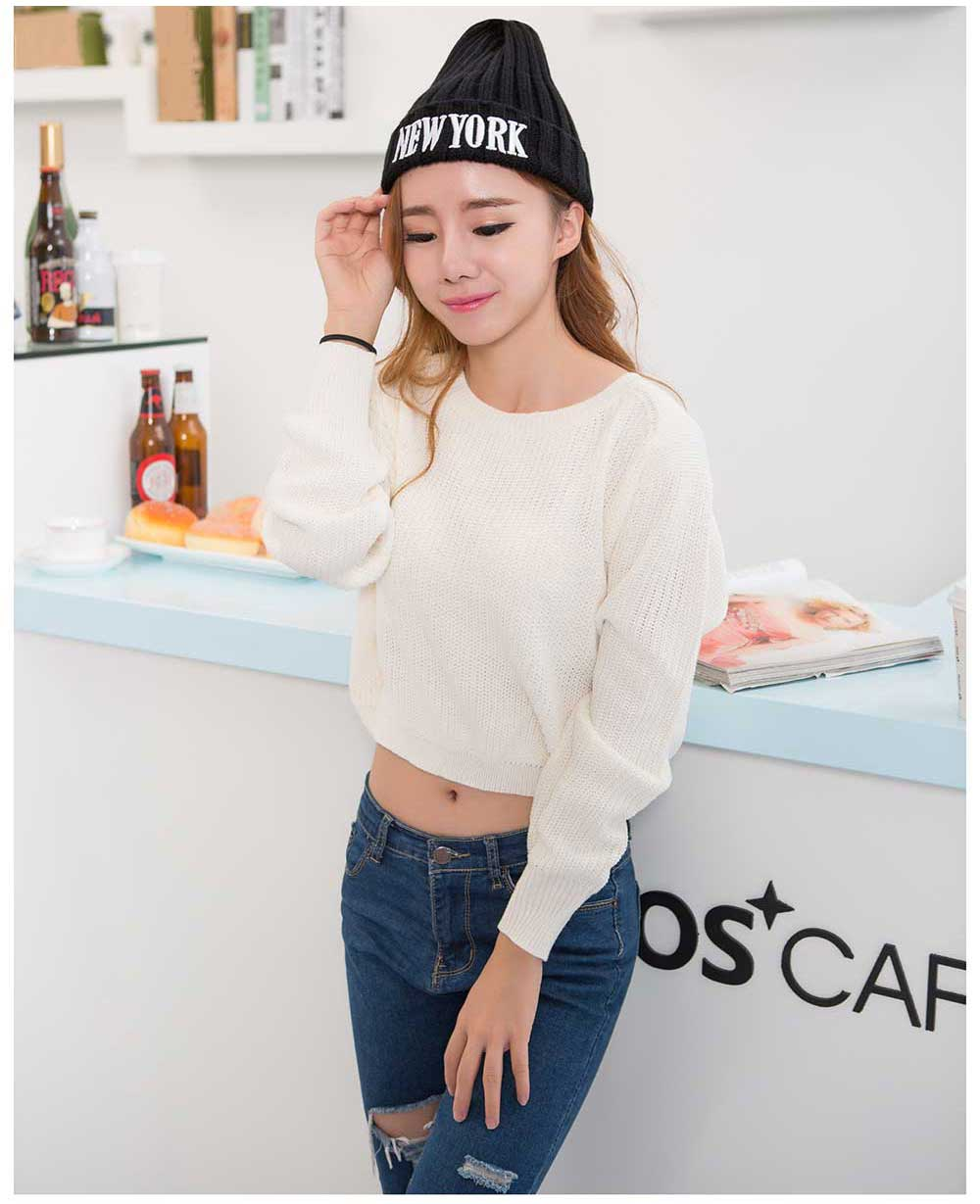Fashionable Letter Print Pure Color Knitted Hat for Women