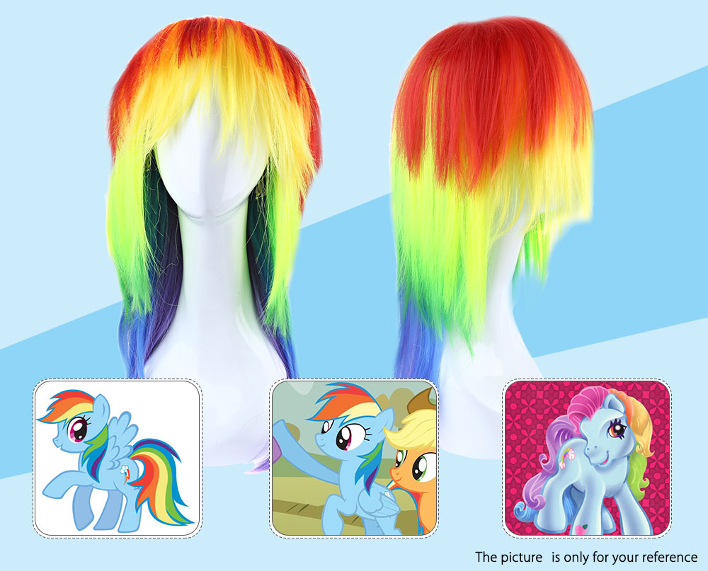 Long Straight Rainbow Colorful Wigs with Ponytail Cosplay for My Little Pony  Halloween Christmas