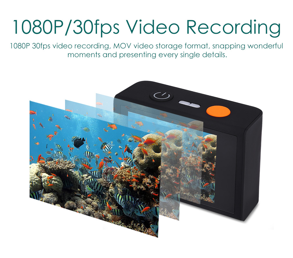 Melife 2K 1080P 30M Underwater Wireless Action Sport Camera with USB Flash Drive