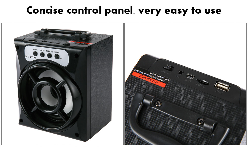 MS - 132BT Large Output Wireless Bluetooth Square Speaker Support AUX TF Input FM Radio