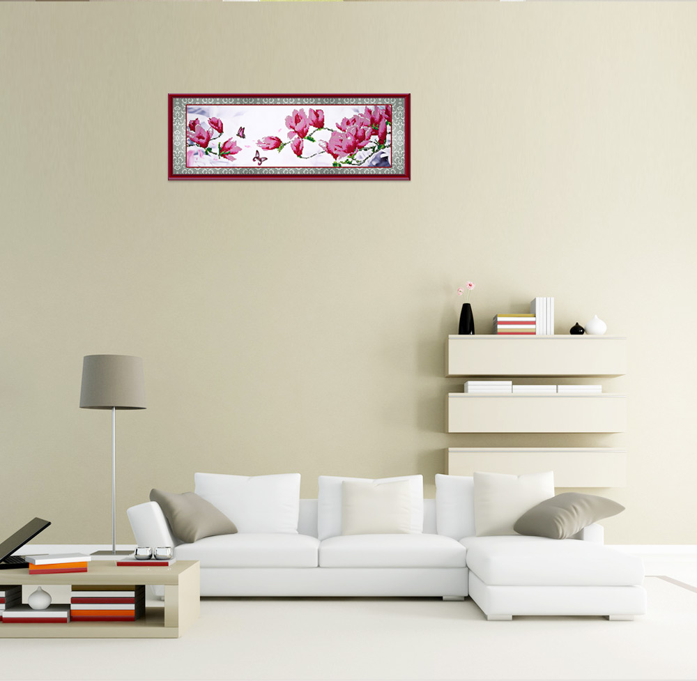 105 x 35cm 5D Butterfly Magnolia Full Drilled Needlework DIY Diamond Painting Cross Stitch Tool Home Decor