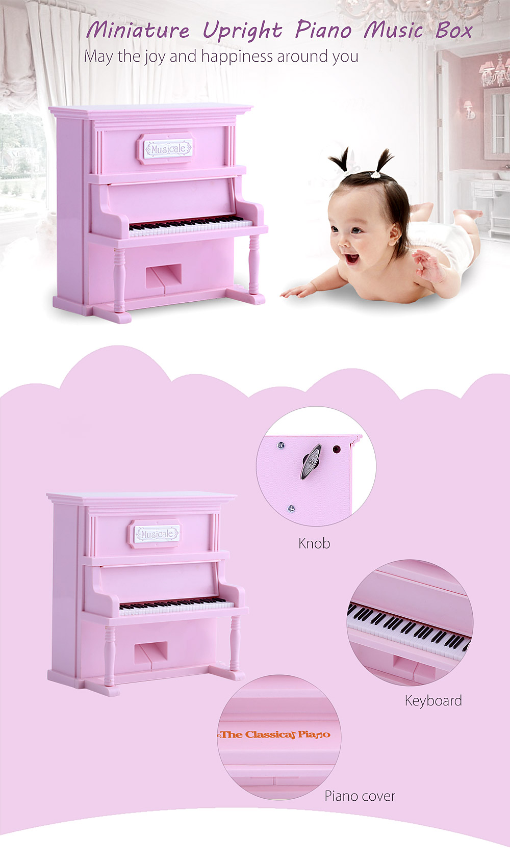 Simulation Lovely Romantic Upright Piano Music Box Decoration Christmas Present