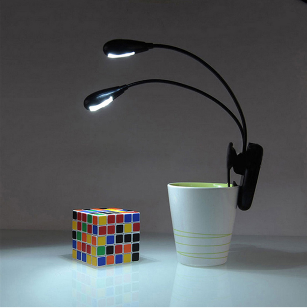 YouOKLight Dual Head 2W 8 LEDs USB Powered Clip Fixtures Desk Light Eye Care Reading Lamp