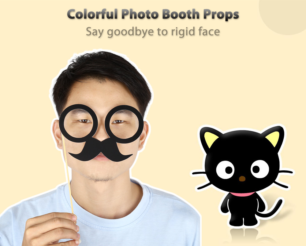 33pcs Colorful Photo Booth Props Decoration for Christmas Party Birthday Halloween Wedding