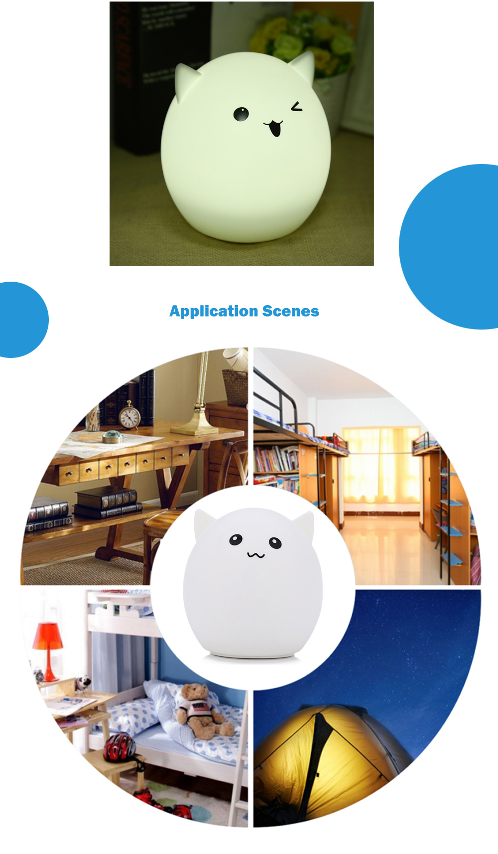 YouOKLight DC 5V 0.4W LED USB Rechargeable Cute Night Light Color Changing Bedside Lamp
