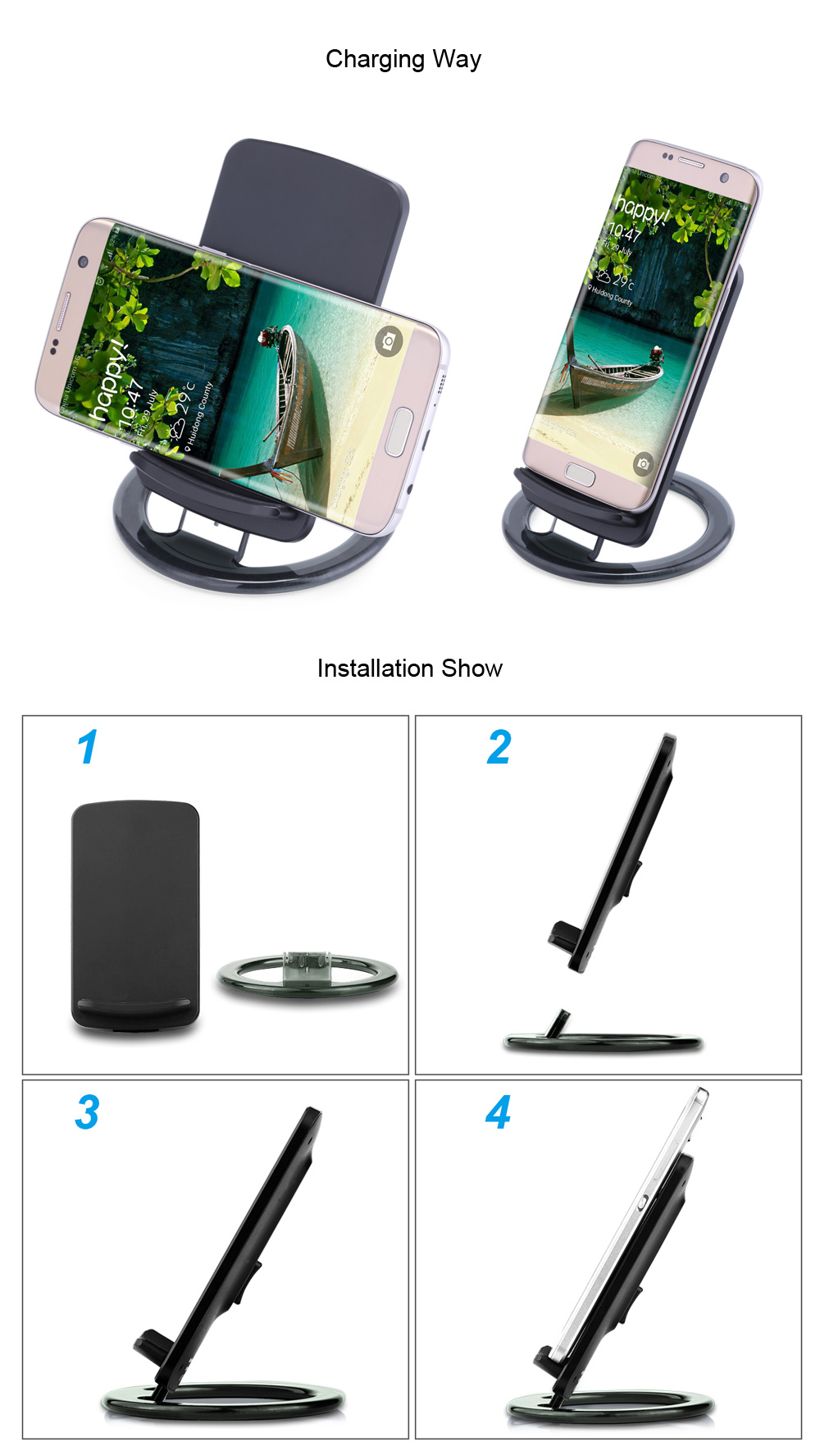 Movable Universal Qi Wireless Charger Stand