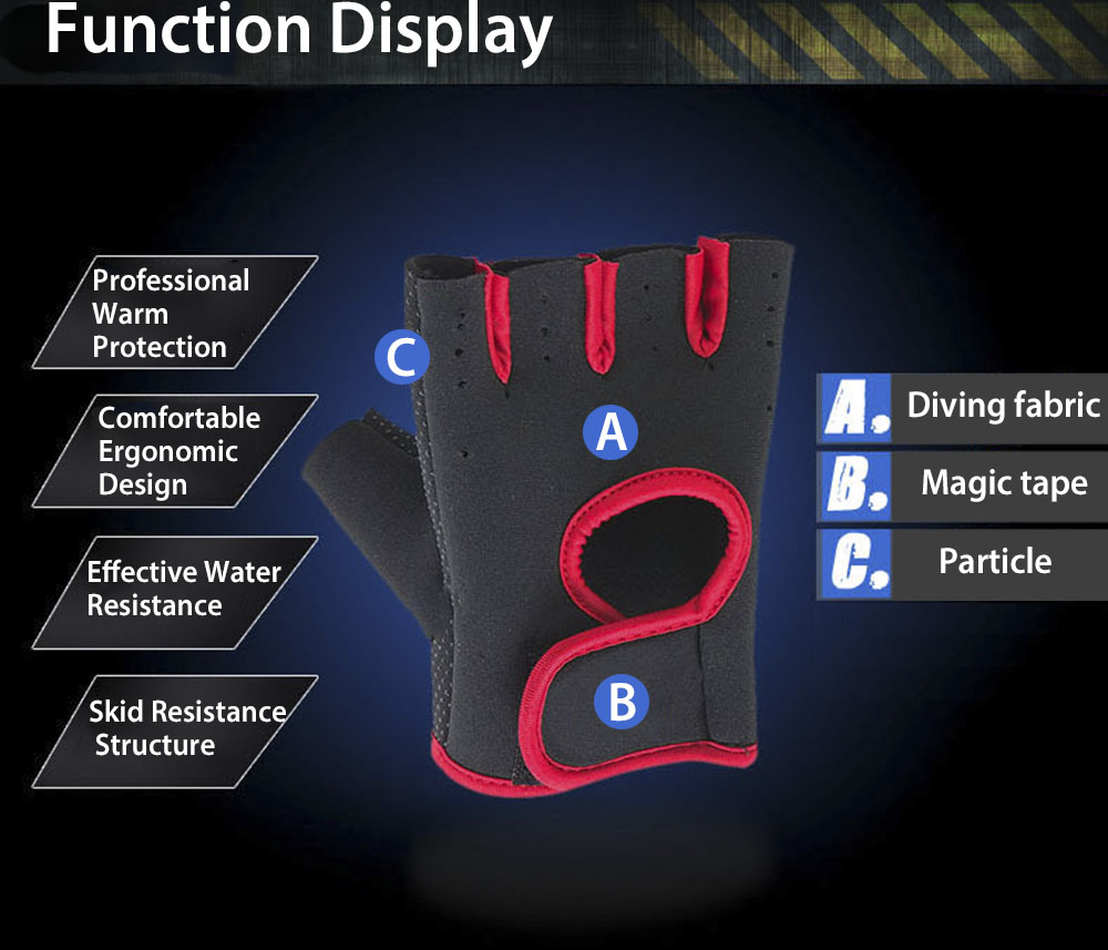 Paired Outdoor Warm Protection Windproof Water Resistant Exercise Half Finger Glove