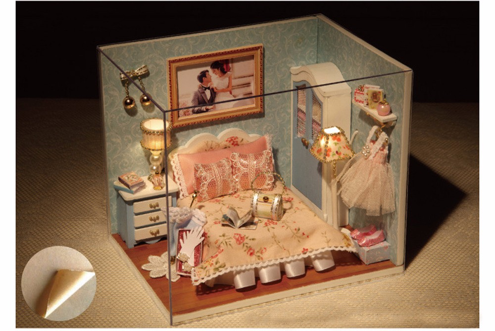 CUTEROOM H - 010 DIY Wooden House Furniture Handcraft Miniature Box Kit - Happy Moment