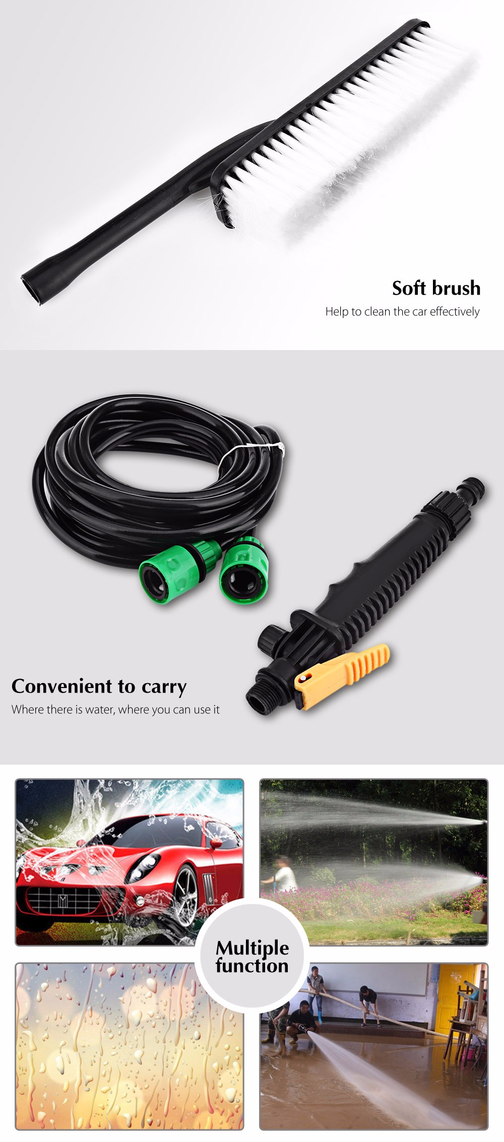 BOJIN 12V 36W Vehicle-mounted Car Washer High Pressure Cleaning Pump Washing Machine with Brush
