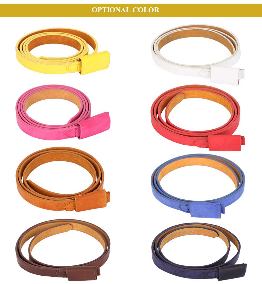 Fashionable Solid Color Leather Belt for Women