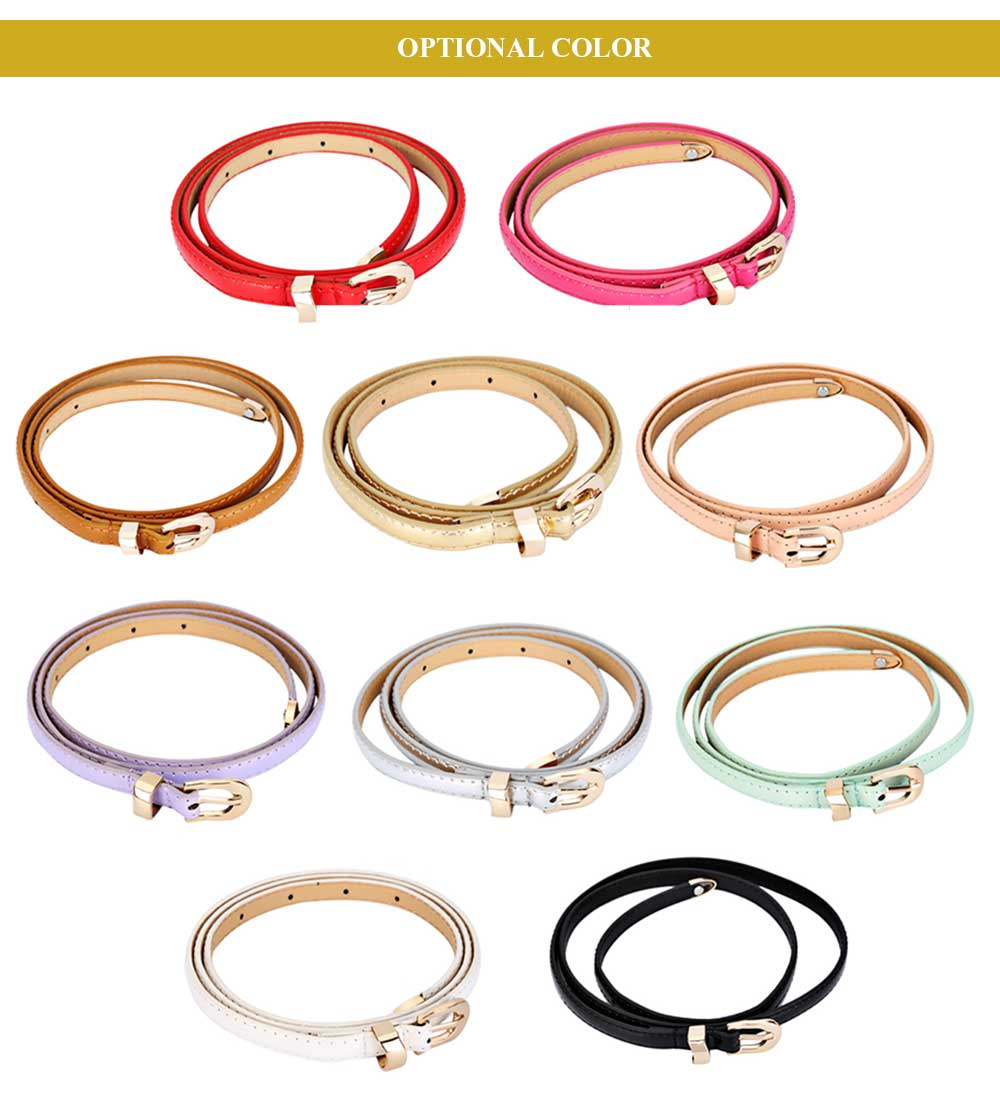 Sweet Candy Color PU Thin Pin Buckle Belt for Women