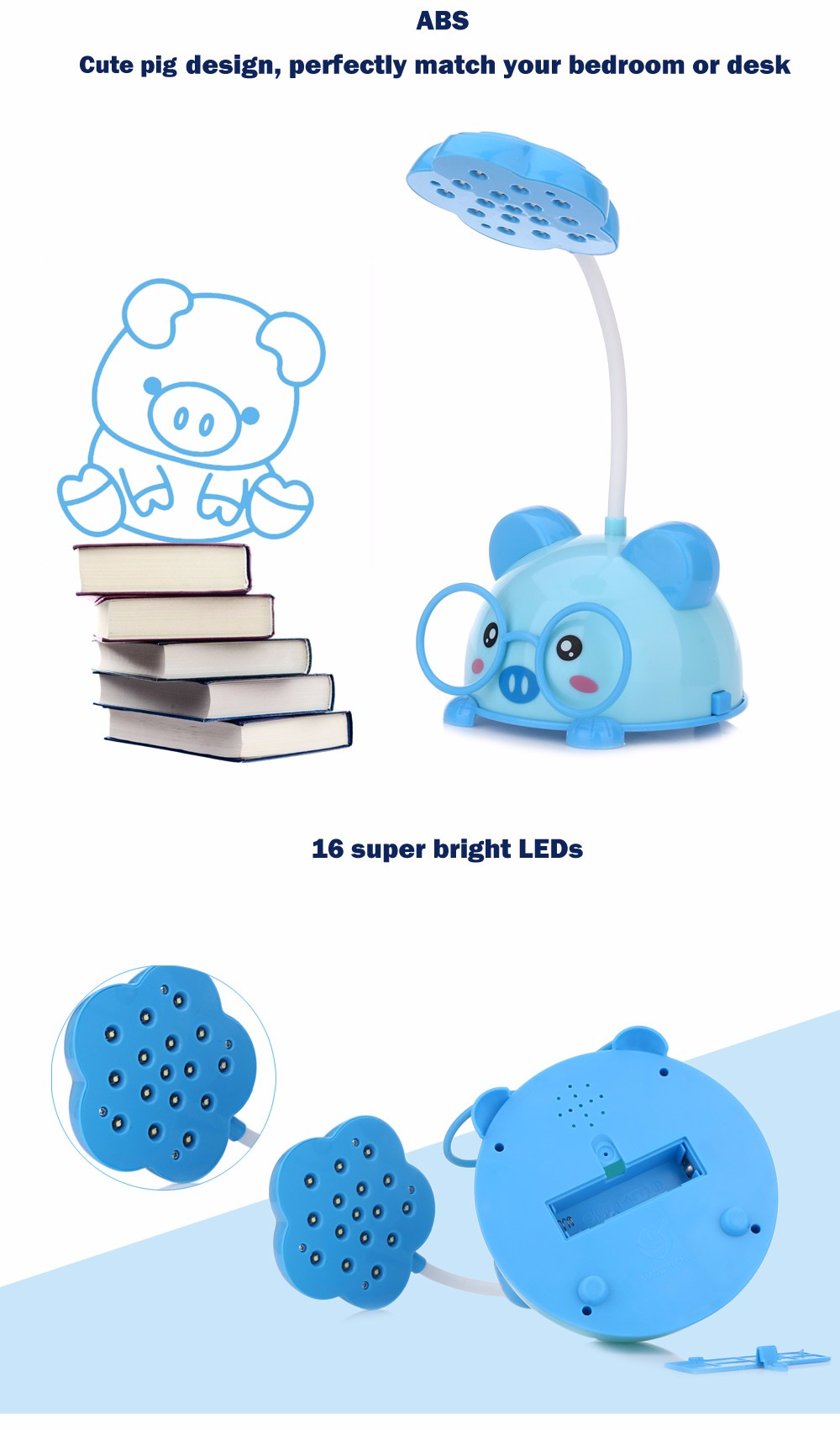 CHAO SHENG CS116 Portable Cute Pig Eye-protection 5W LED Table Lamp 2 Modes Night Light
