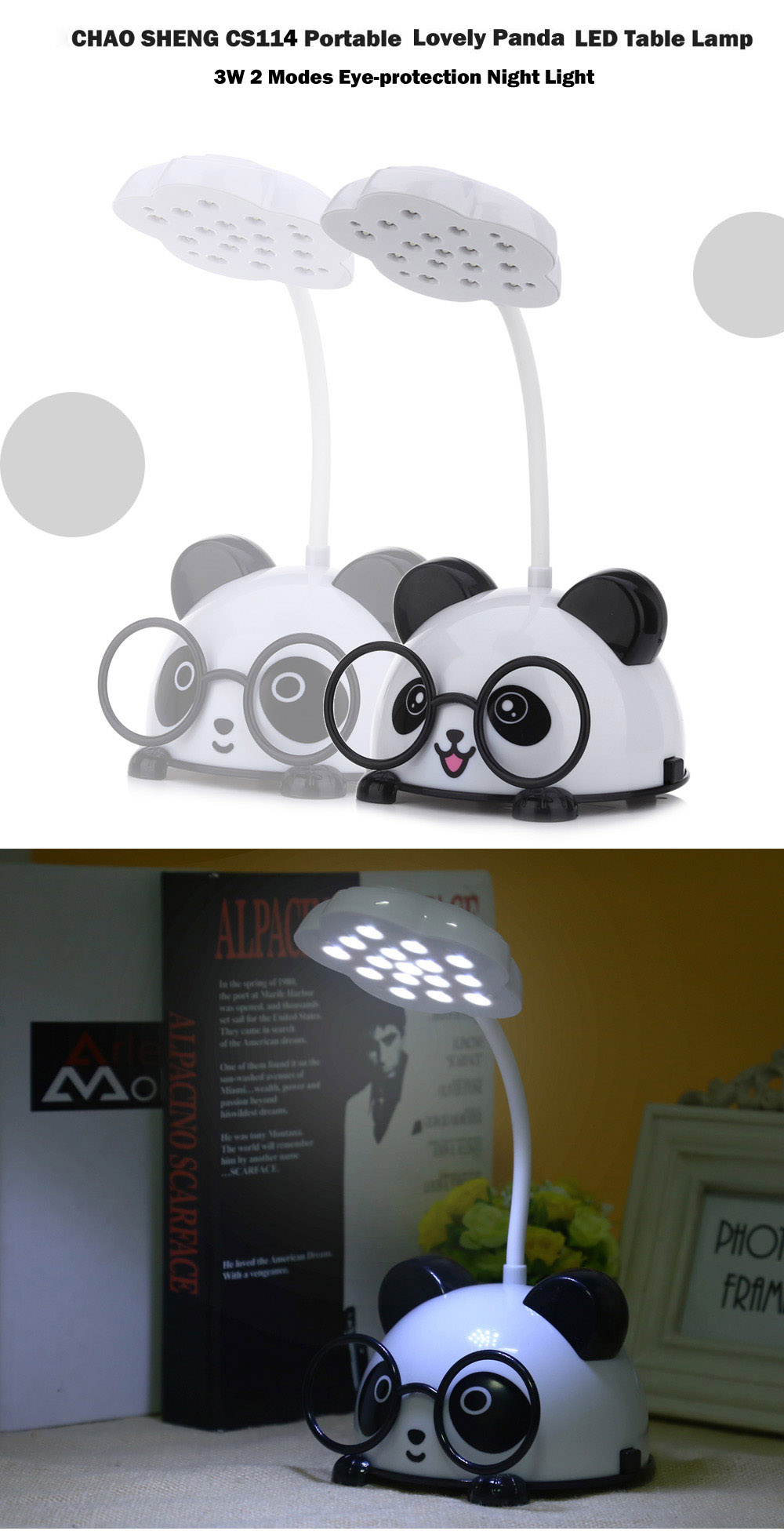 CHAO SHENG CS114 Portable Lovely Panda Eye-protection 3W LED Table Lamp 2 Modes Night Light