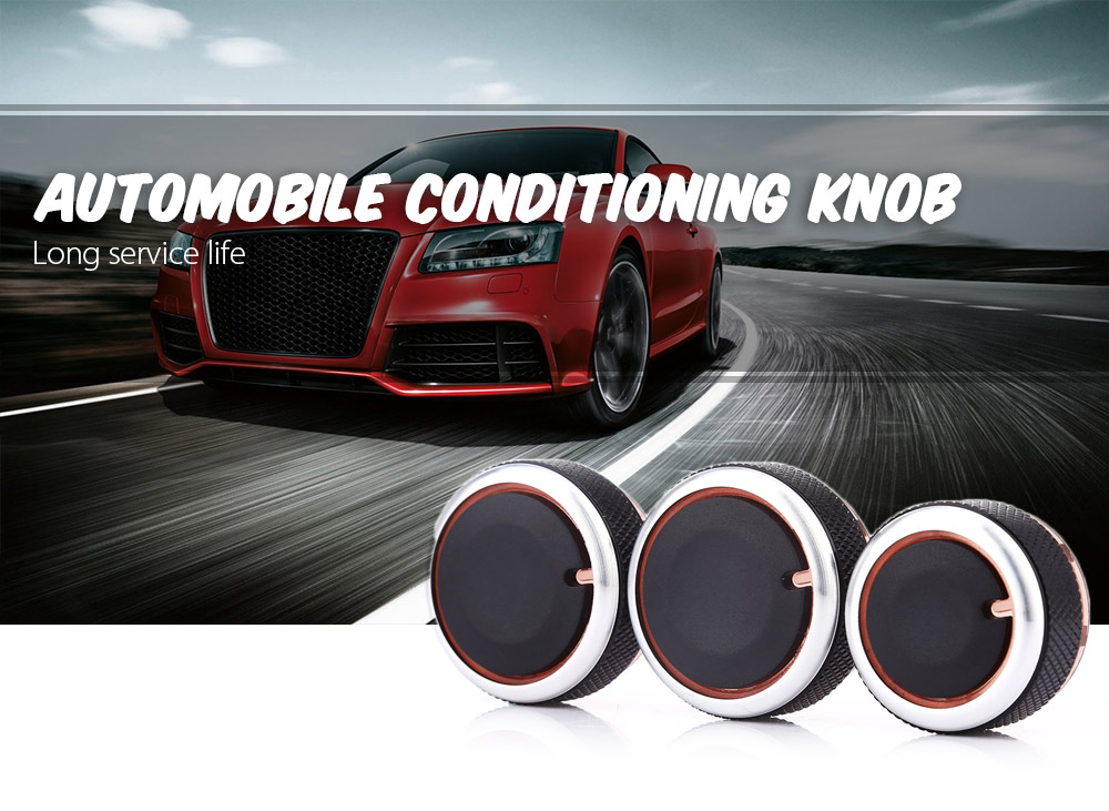 3PCS Automobile Conditioning Knob Aluminum Alloy Heat Control Switch Button for Volkswagen