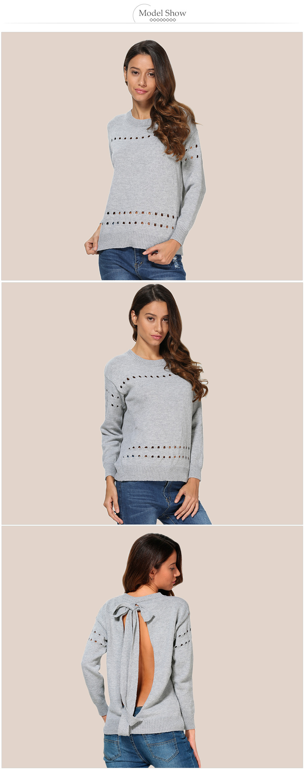 Stylish Round Collar Back Bowknot Women Pullover