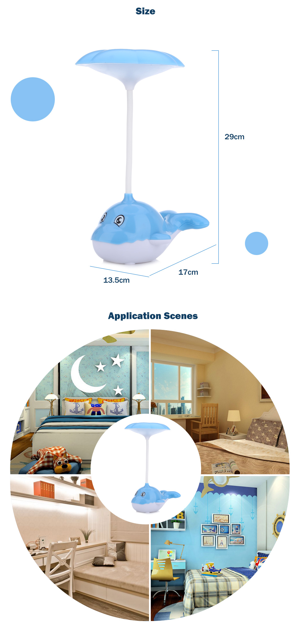 Portable Whale Eye-protection 2.5W LED Desk Lamp Touch Control 3 Dimmable Levels Night Light