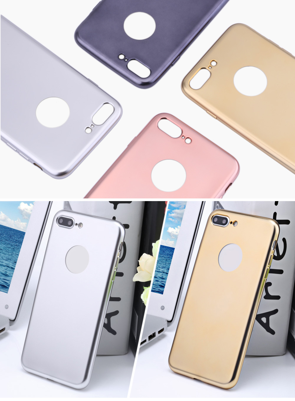Frosted Electroplate Plating TPU Back Cover Case for iPhone 7 Plus 5.5 inch