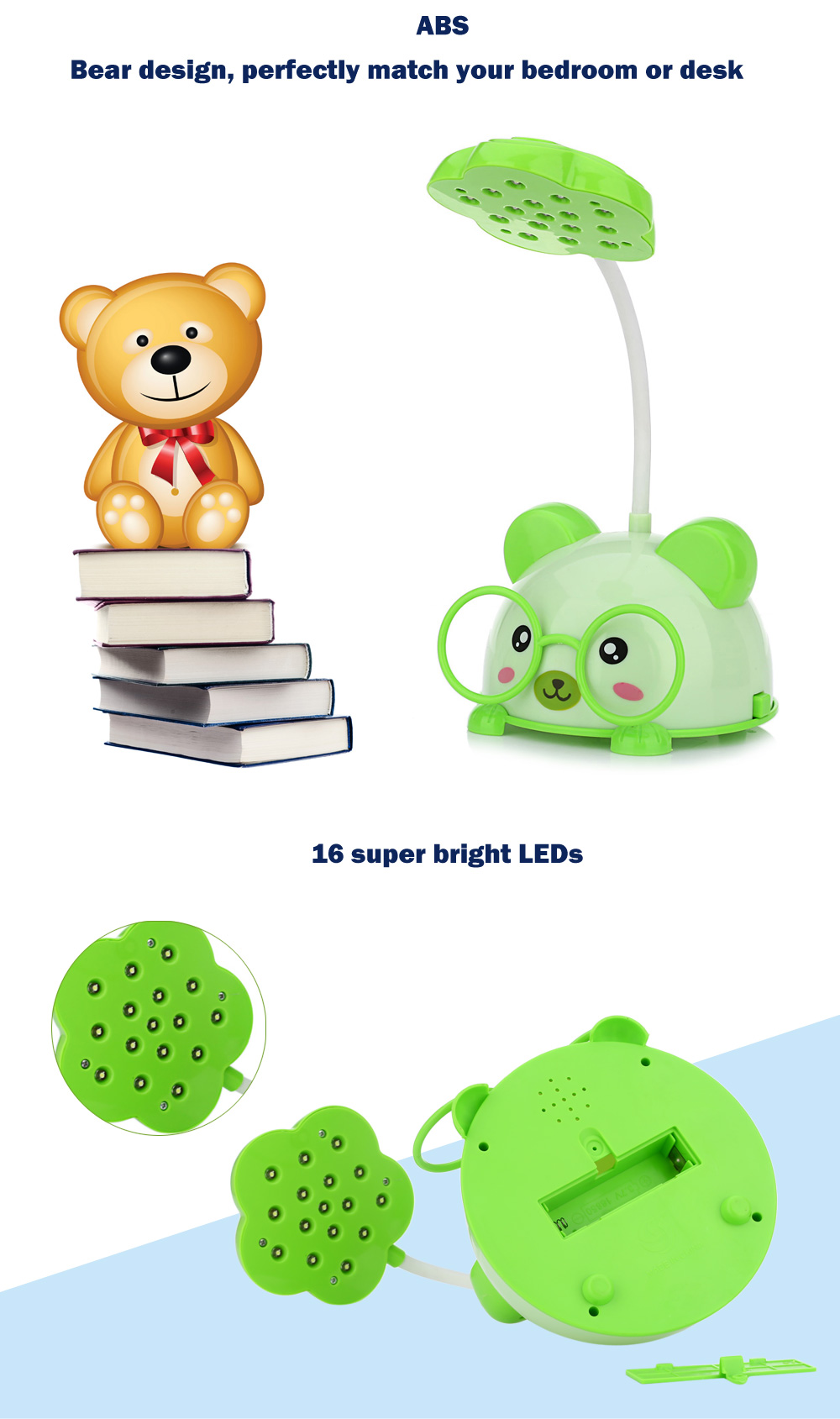 CHAO SHENG CS115 Portable Lovely Bear Eye-protection 5W LED Table Lamp 2 Modes Night Light