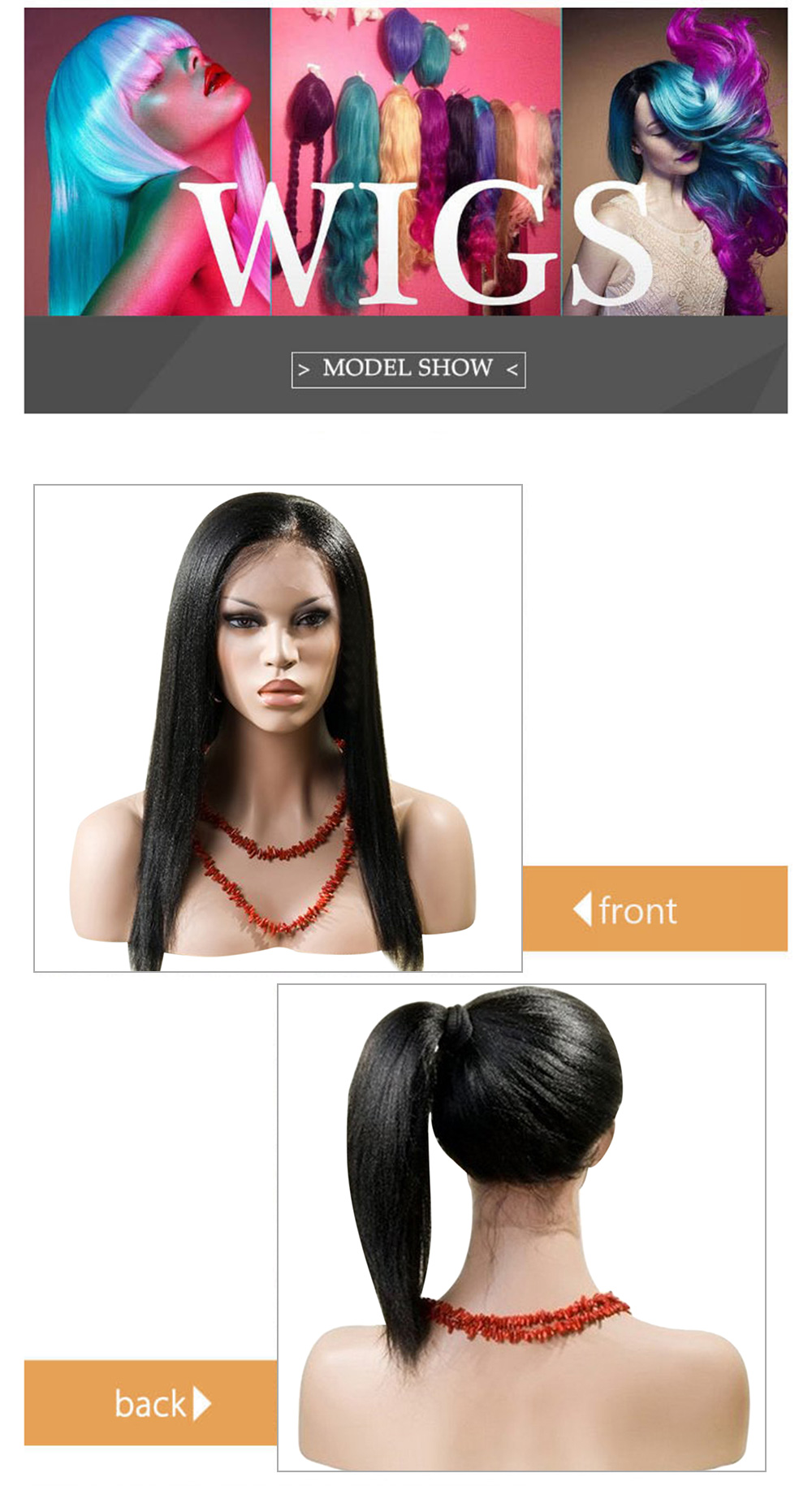 Synthetic Lace Front Kinky Straight Black Wig Hand Tied Glueless High Density Party Show