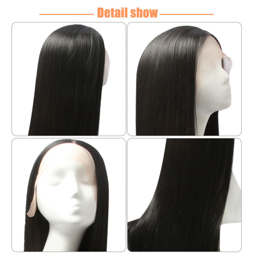 Black Women Full Lace Front Natural Straight Black Wigs Synthetic Hair