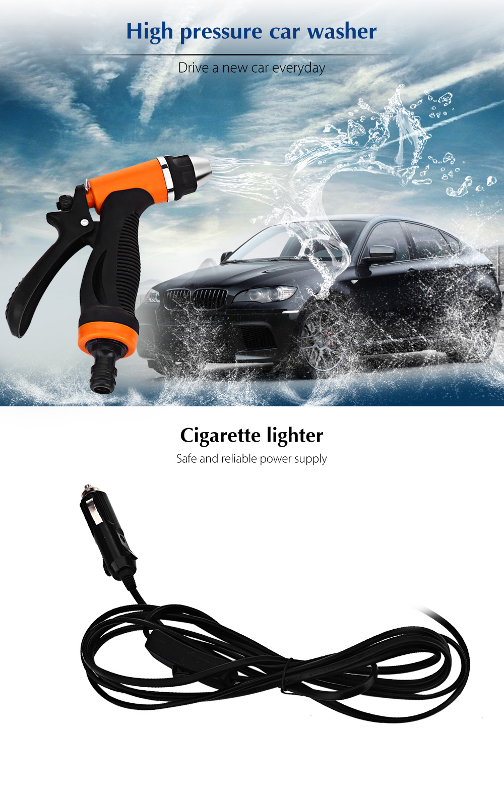 BOJIN 80W 12V High Pressure Cleaning Pump Portable Car Washing Machine Vehicular Self-priming Wash Device