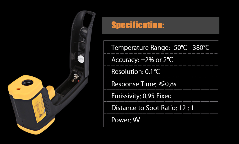 LCD Non-contact Infrared Digital Industrial Object Thermometer