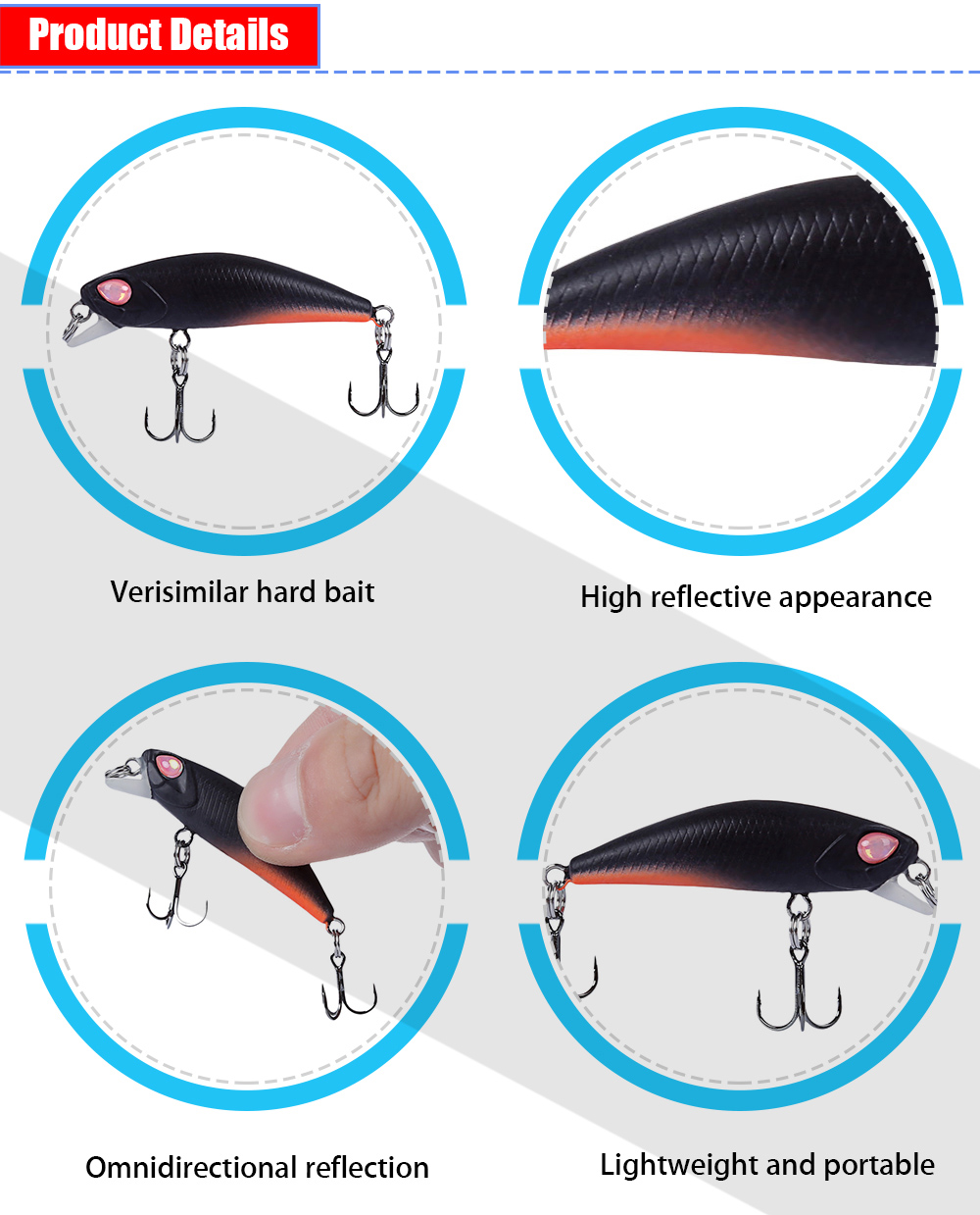 TSURINOYA DW29 Hard Fish Shape 42MM Fishing Bait for Outdoor Activity