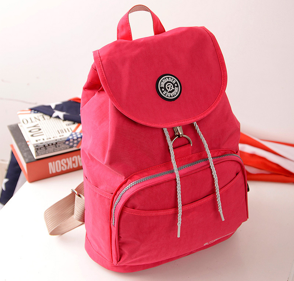 Casual Light Pure Color Drawstring Waterproof Hook Packed Cover Type Women Bag