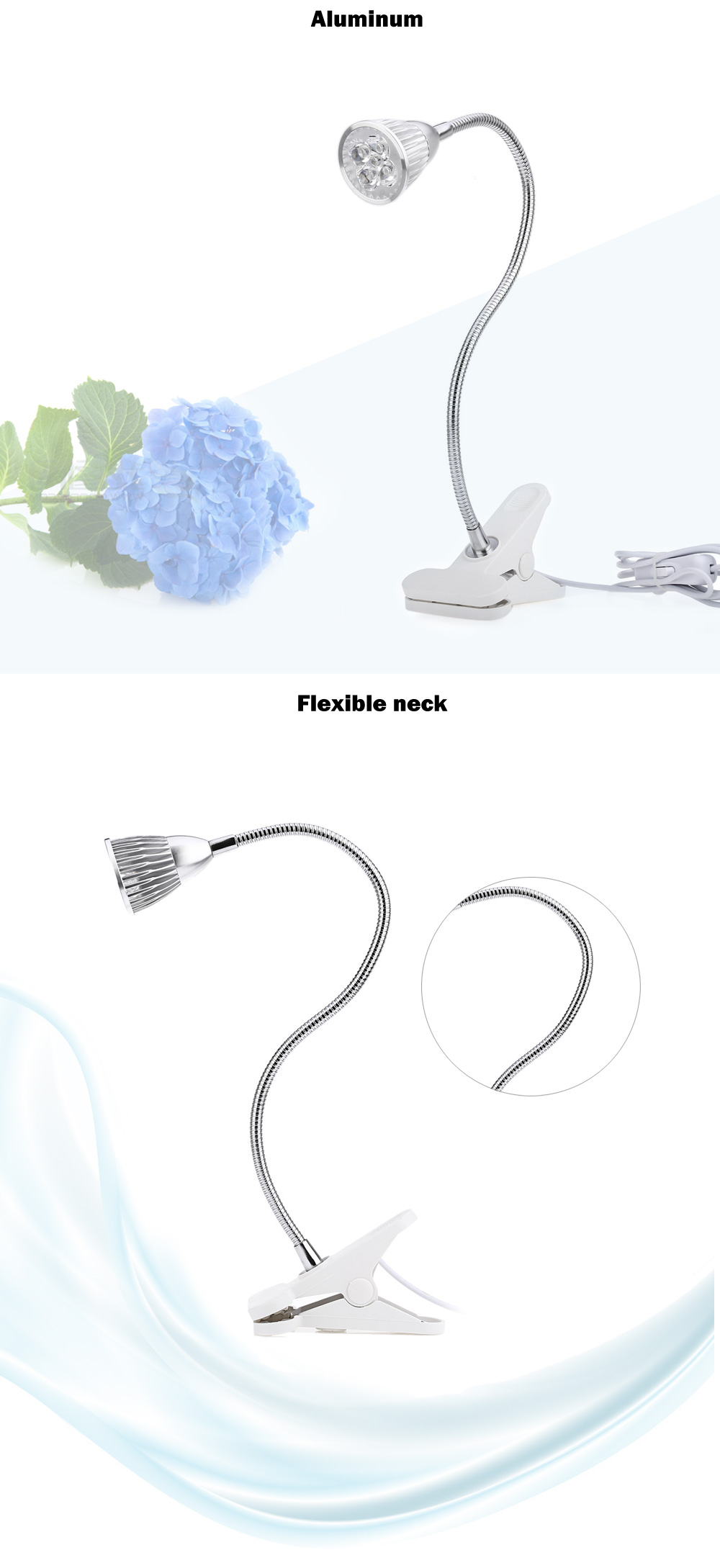 15W LED Grow Light Clip Lamp Flexible Neck 360 Degree for Hydroponics Indoor Plant with 5 LEDs