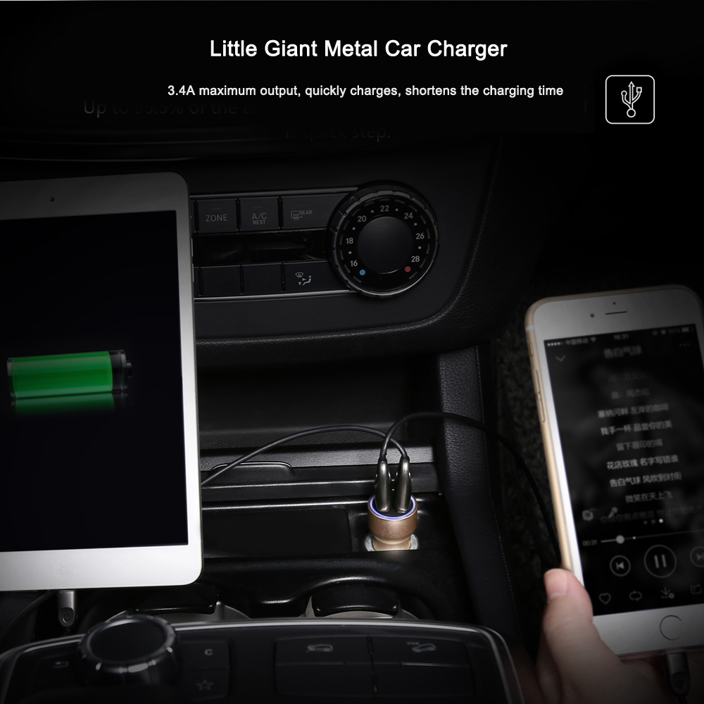 Baseus Lefast Little Giant Metal Car Charger + Letour Dual USB Adapter + Portman Series 2 in 1 Micro USB and 8 Pin Cable Travel Kit