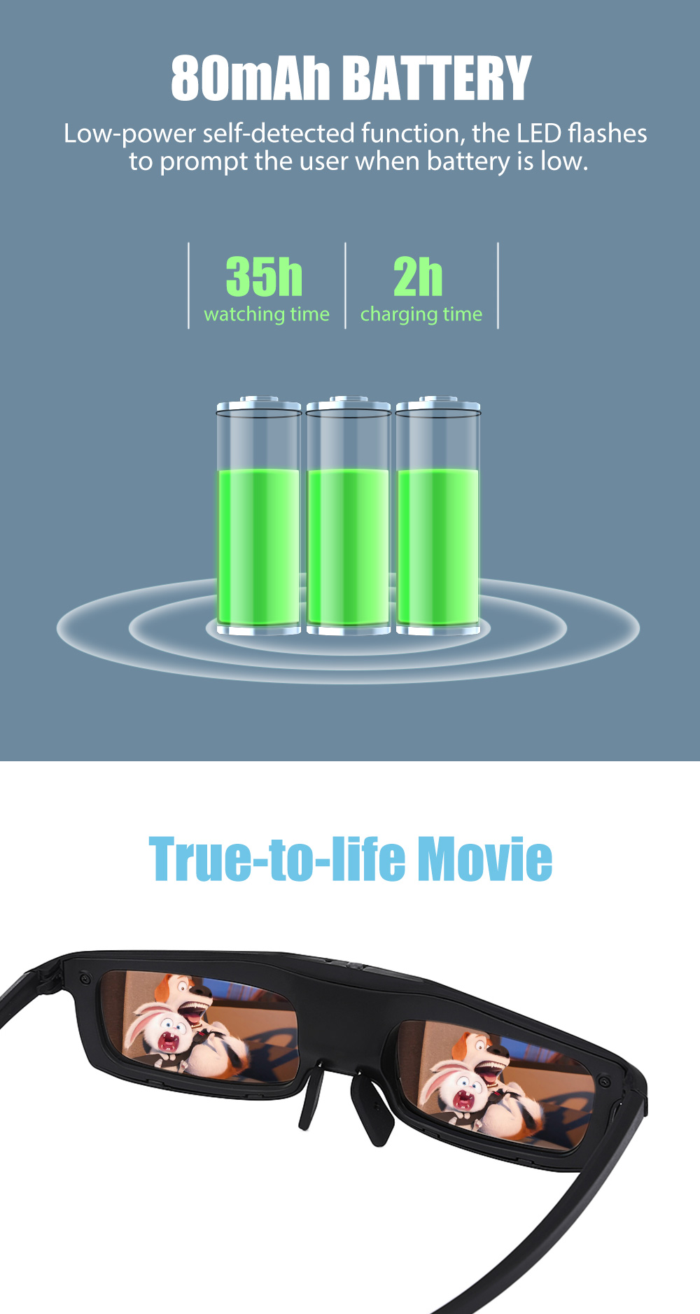 CX - 60 Bluetooth Rechargeable 3D Active Virtual Reality Glasses