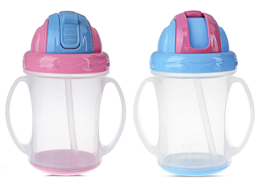 Portable 240ML Food Grade PP BPA Free Training Baby Handle Sippy Cups
